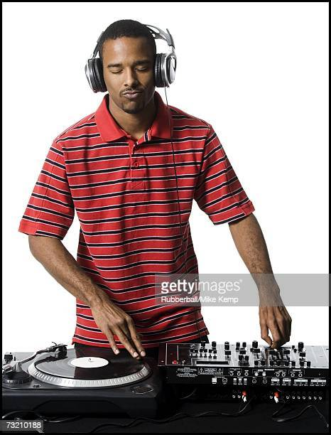 DJ with headphones spinning records