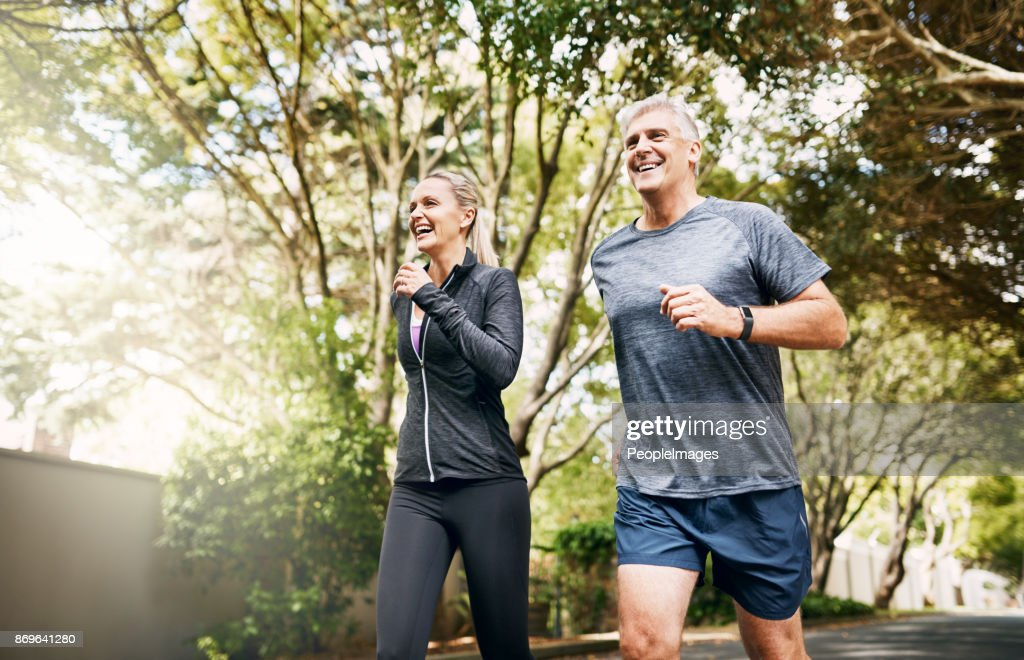 With her by my side I can run miles : Stock Photo