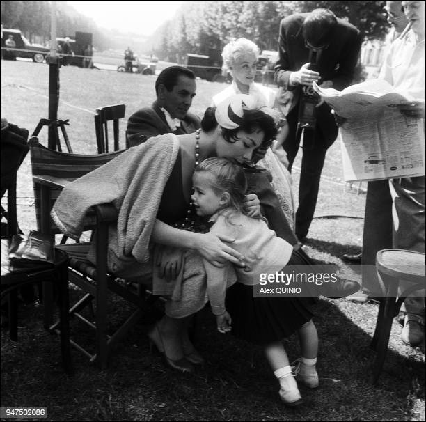 1956 with her daughter Laurence Marie on the set of The sun also rises by Henri King