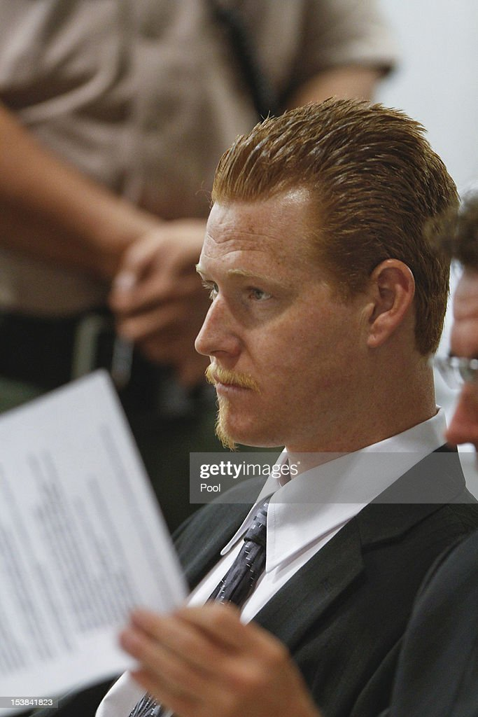 With his attorney, Richard Pintal at his side, Redmond O'Neal listens to the conditions of his probation inside the Airport Branch Courthouse October 9, 2012 in Los Angeles, California. O'Neil, the son of actors Ryan O'Neal and the late Farrah Fawcett was warned by Judge Keith Schwartz that if he violated any conditions of the probation that he would be sent to jail for six years.