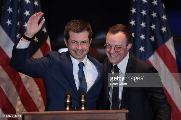 With his husband Chasten by his side former South Bend Indiana Mayor Pete Buttigieg announces he is ending campaign to be the Democratic nominee for...