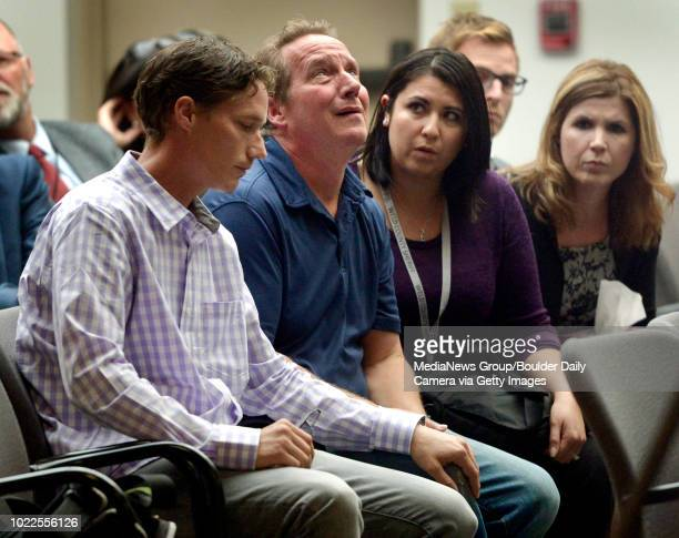 With his son Frankie by his side Frank Rzucek cries after speaking at a press conference Aug 20 2018 announcing the charges against Christopher Watts...