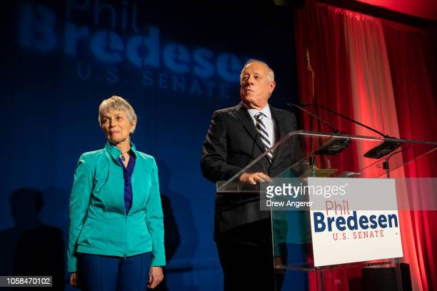 With his wife Andrea Conte next to him Democratic candidate for US Senate Phil Bredesen delivers his concession speech during an election night event...