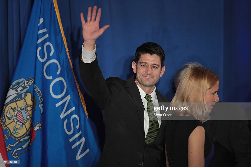 House Speaker Paul Ryan Holds Election Night Event In Janesville, Wisconsin