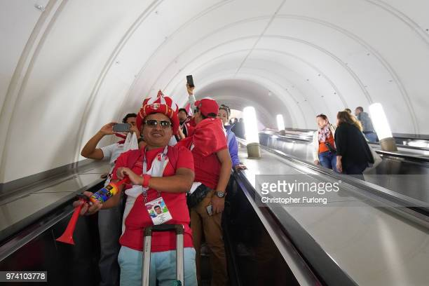 With hours to go until the first World Cup game between Russia and Saudi Arabia Peruvian fans are in party mood as they travel on the Metro near Red...