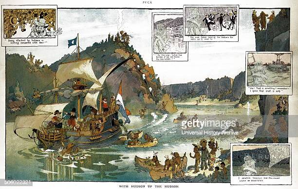 With Hudson up the Hudson By Will Crawford 18691944 artist Published 1909 Illustration shows Henry Hudson and crew on the ship Halve Maen sailing up...