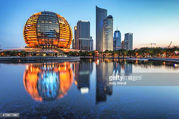 cbd with intercontinental and new skyscrapers (han - hangzhou stock photos and pictures