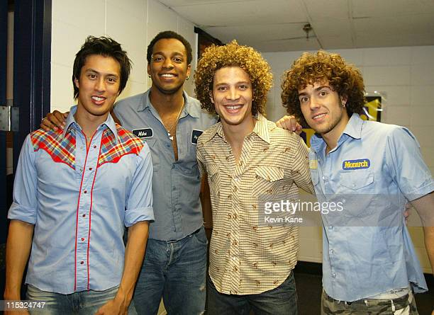 LMNT with Justin Guarini during 1061 BLI Winter Jam 2002 Backstage at Nassau Coliseum in Hempstead New York United States