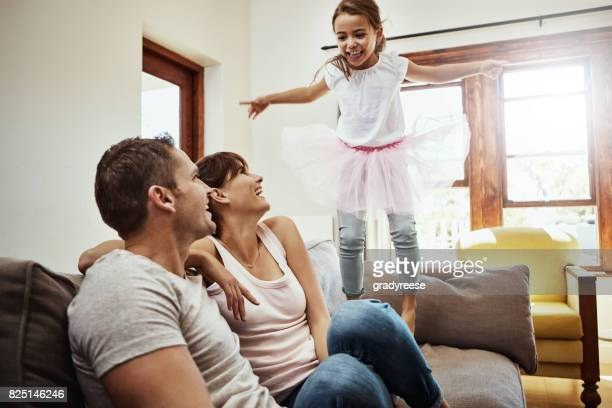 with kids around, fun is always guaranteed - family at home stock photos and pictures