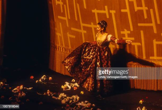 With La Scala Opera Ballet English ballerina Dame Margot Fonteyn takes a bow after a performance of 'Romeo and Juliet' at the Metropolitan Opera...