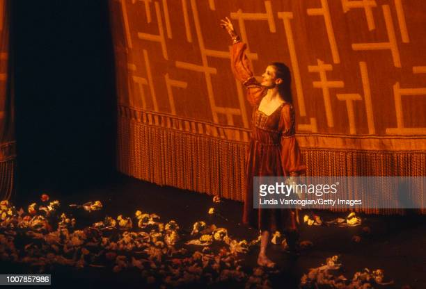 With La Scala Opera Ballet Italian ballerina Carla Fracci takes a bow after a performance of 'Romeo and Juliet' at the Metropolitan Opera House...