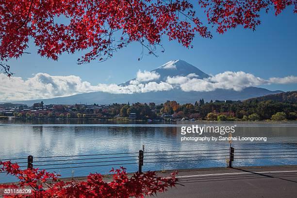 MT. FUJI with lake kawaguchiko