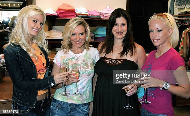 With Lisa Kline store owner actresses Holly Madison Bridget Marquardt and Kendra Wilkinson from the E Network show 'The Girls Next Door' attend the...