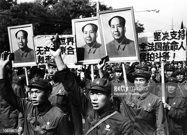 With Little Red Book And Mao TseTung'S Portraits On June 27 1968