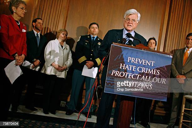 With members of law enforcement and human rights organizations Sen Ted Kennedy speaks during a news conference at the US Capitol April 12 2007 in...