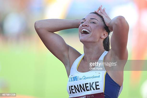 with Michelle Jenneke celebrates after coming 2nd in the Womens 100m Hurdles final during the Australian Athletics Championships at the Queensland...