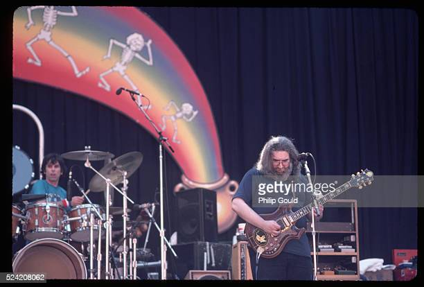 With Mickey Hart backing him up on drums Jerry Garcia plays lead guitar during a Grateful Dead concert at the Greek Theater Berkeley California USA