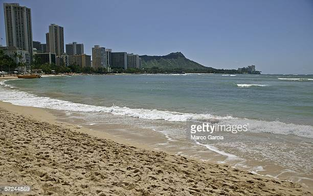 With near perfect weather across Oahu Waikiki Beach is seen near empty of swimmers April 3 2006 in Honolulu Hawaii With near perfect weather across...