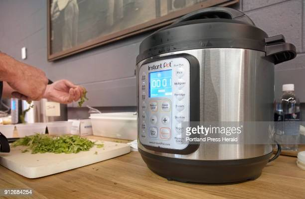 With one minute left on the Instant Pot cooking ingredients for Mexican Street Tacos Nick Verdisco executive chef at Bolster Snow Co prepares...