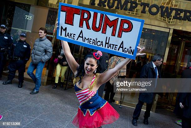 With only 10 days left before the 2016 presidential election a handful of Trump supporters and antiTrump protestors yell at each other in front of...