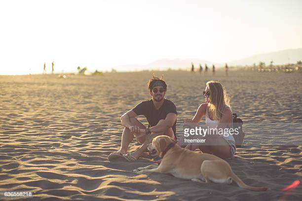 With our dog on the beach