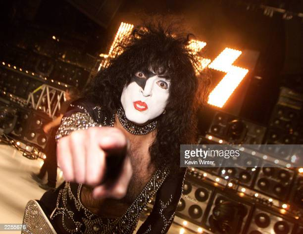 KISS with Paul Stanley performs at a taping of American Bandstand's 50thA Celebration at the Pasadena Civic Auditorium Pasadena Ca Friday April 19...