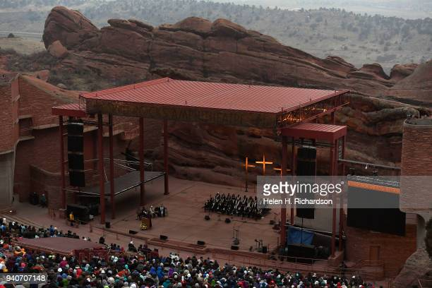 With predawn temperatures below freezing and cloudy skies there was no sunrise for the annual the 71st annual Easter Sunrise service at Red Rocks...