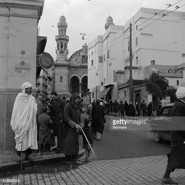 With President Charles de Gaulle returned to France disturbances and demonstrations in Algiers are becoming less common here citizens go quietly...
