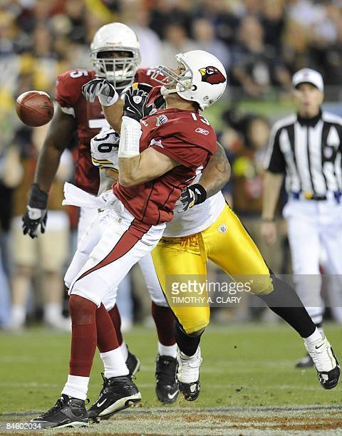 With seconds remaining in Super Bowl XLIII, the pass by quarterback Kurt Warner of the Arizona Cardinals is thwarted by LaMarr Woodley of the...