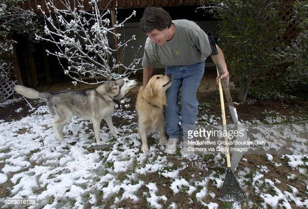 With shovel and rake in hand Mike Rubin greets two dogs before picking up their poop in the back yard of a residence in Gunbarrel Monday morning...