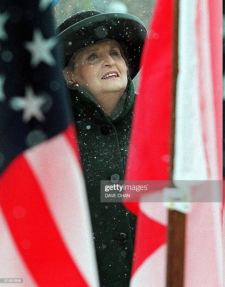 With snow falling heavily, US Secretary of State M : News Photo