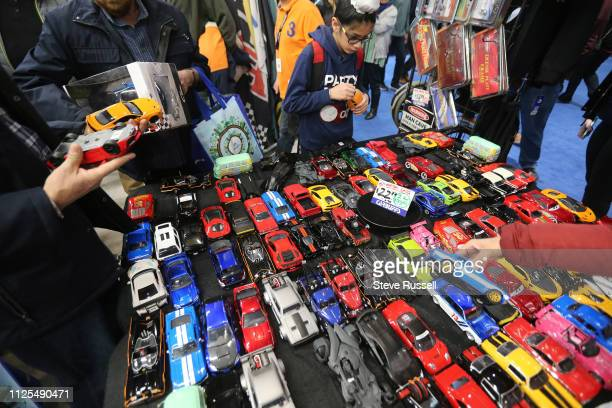 TORONTO ON FEBRUARY 16 With some cars in the Auto Exotica display being over a half million dollars a vendor had some available for $2277 at the 2019...