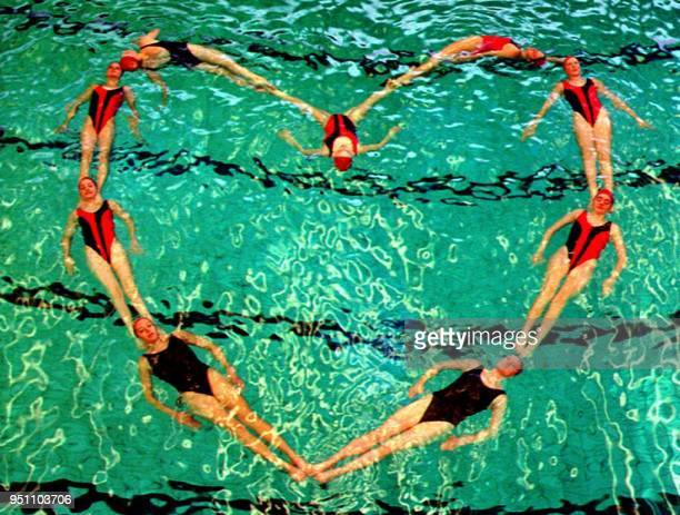 With St Valentine's Day the patron saint of lovers due to be celebrated on Sunday 14 February 1993 nine women from a Bristol synchronized swimming...