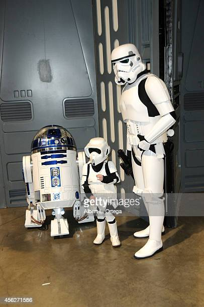 R2D2 with Storm troopers at The Long Beach Comic Con held at the Long Beach Convention Center on September 27 2014 in Long Beach California