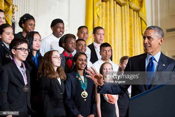 With students from a range of science technology engineering and math competitions from across the country looking on US President Barack Obama...