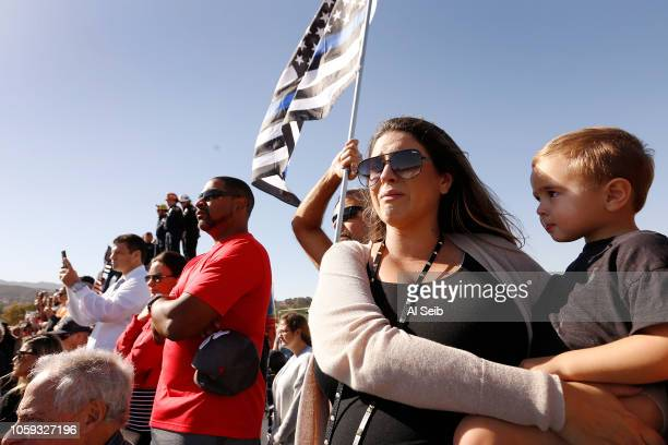With tears in her eyes Kendall Johnson brought her son 2 yearold Chase Johnson to the Borchard Road overpass over the 101 freeway to watch the...