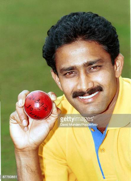 With the ball with which he took all 10 wickets in a test v Pakistan Delhi 1999