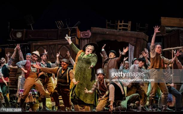 With the company, American opera singers mezzo-soprano Stephanie Blythe and bass Paul Corona perform during the final dress rehearsal prior to the...