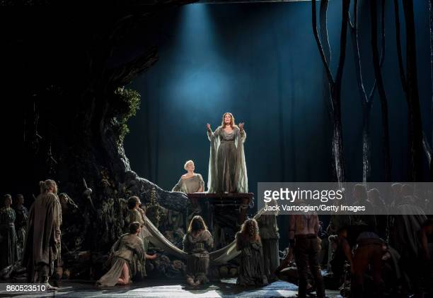 With the company, American-Canadian soprano Sondra Radvanovsky performs during the final dress rehearsal prior to the premiere of the Metropolitan...