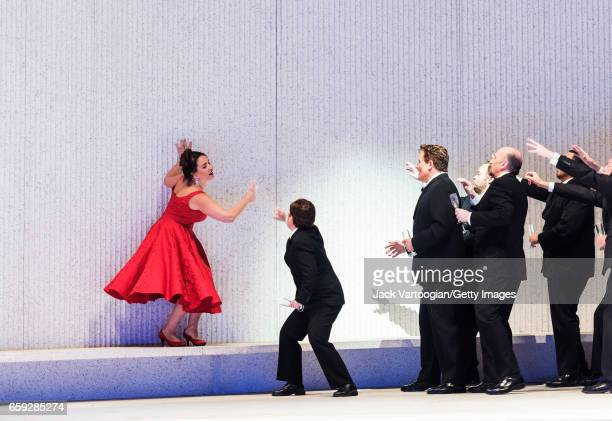 With the company Bulgarian soprano Sonya Yoncheva performs during at the final dress rehearsal prior to the season premiere of the Metropolitan...