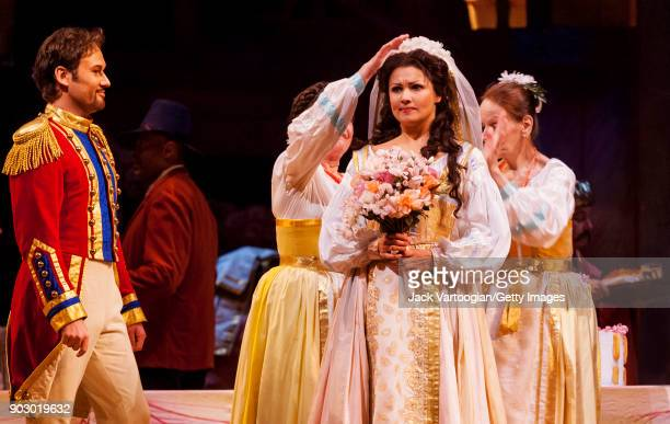 With the company Polish baritone Mariusz Kwiecien and Russian soprano Anna Netrebko perform during the final dress rehearsal of Act 2 of the...