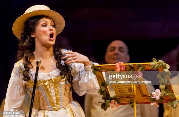 With the company Russian soprano Anna Netrebko performs during the final dress rehearsal of Act 2 of the Metropolitan Opera/John Copley production of...
