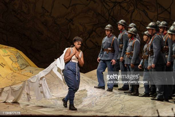 With the company South African soprano Pretty Yende performs during the final dress rehearsal prior to the season premiere of the Metropolitan...