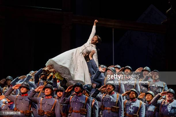 With the company, South African soprano Pretty Yende performs during the final dress rehearsal prior to the season premiere of the Metropolitan...