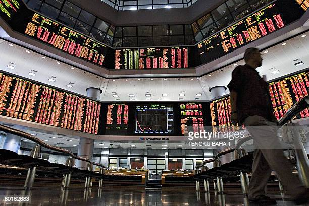 With the graph of a diving market index displayed on a monitor a man walks past the floor of a stock market exchange in downtown Kuala Lumpur on...