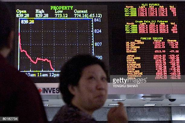 With the graph of a diving properties market index displayed on the board a woman reacts to falling share prices at a stock market exchange in...