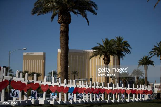 With the Mandalay Bay Resort and Casino in the background 58 white crosses for the victims of Sunday night's mass shooting stand on the south end of...