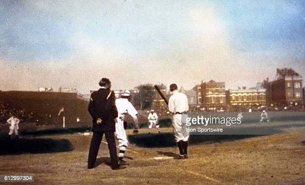 CHICAGO IL OCTOBER 1907 With the photographer crouching behind home plate in West Side Park we get a view of Ty Cobb at bat during the 1907 World...