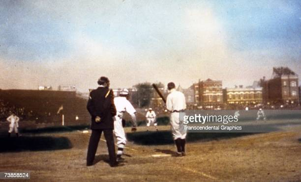 CHICAGO OCTOBER 1907 With the photographer crouching behind home plate in Wrigley Field we get a view of Ty Cobb at bat during the 1907 World Series...