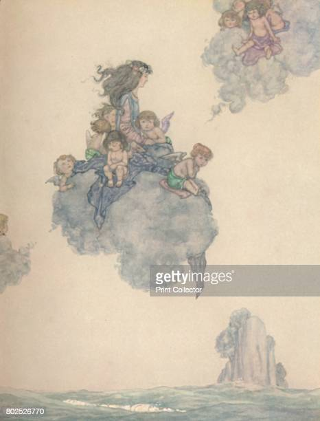 With The Rest of Her Children of Air Soared High Above the Rosy Cloud' c1930 An illustration from 'The Little Mermaid' by Hans Christian Andersen...